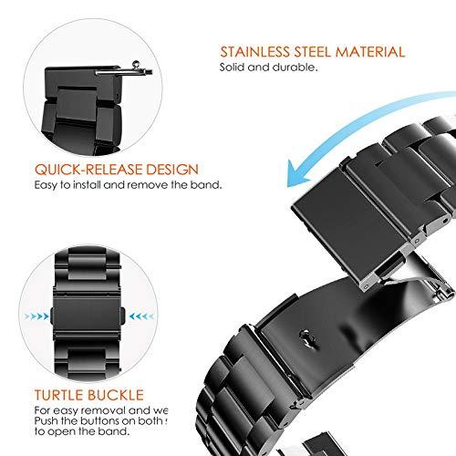 時計バンドベルト20mmステンレス、Fullmosaスマートウォッチバンドベルト腕時計バンド16mm18mm20mm22mm24mm交換ベルトステンレス金属ベルト20mmブラック