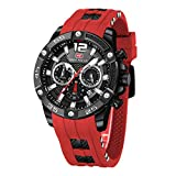 Mens Watch, Mini Focus Chronograph Waterproof Analog Quartz Watches with Fashion Silicon Strap Sport Wristwatch for Men (Red)