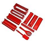 Yisscen Kit para Hacer Sushi, 10 Piezas Sushi Molde de Rollo de Arroz Fácil y Divertido Kit de Hacer Sushi Aplicar para Principiante DIY Set de Sushi Roll Fácil de Limpiar y Usar, Rojo