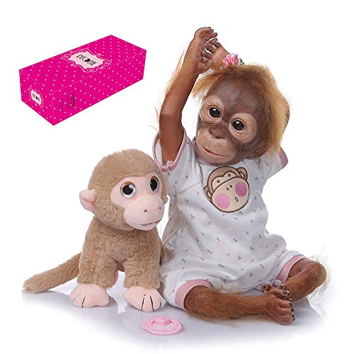 Decdeal 21 Zoll Reborn Baby AFFE Puppe mit Tuch Körper Lebensechte Babypuppe Realistische AFFE Puppe mit Kuscheltier