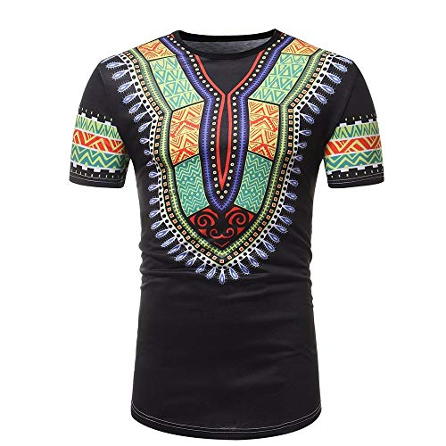YWLINK Camisetas De Tirantes Hombres Slim Fit De Manga Corta Camiseta con Estampado Muscular De éTnica African Wind Camiseta Casual Tops Blusa Vestido De Fiesta Ropa Deportiva De Gran TamañO