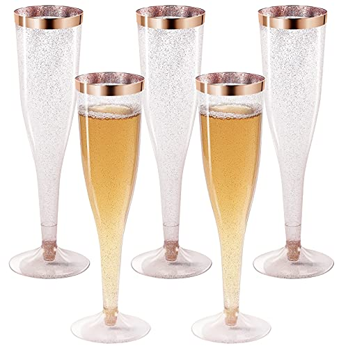 36 Rose Gold Glitter Plastic Champagne Flutes Disposable 6.5 Oz Rose Glitter Plastic Champagne Glasses For Parties Glitter Clear Plastic Cups Plastic Toasting Glasses Wedding Party