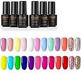 ROSALIND Lot de Vernis Gel Semi-Permanent 24 couleurs Vernis à Ongles Gel UV LED Soak Off 24 Flacon 7ml Cadeau