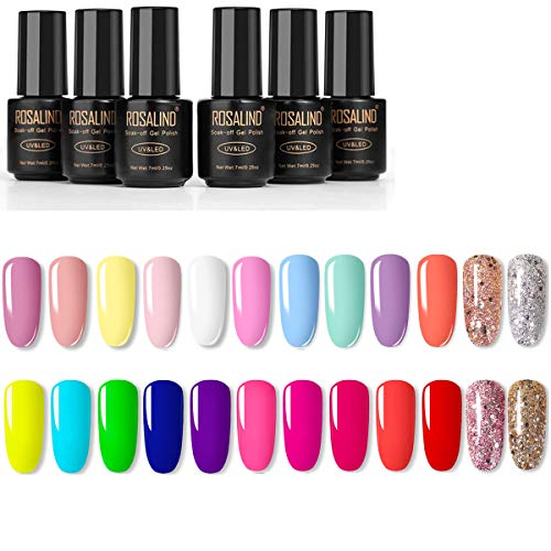 Smalto Semipermanente -ROSALIND 24 Colori Set Semipermanenti Per Unghie Soak off UV Gel Ricostruzione Combinazioni di Colori Multipli
