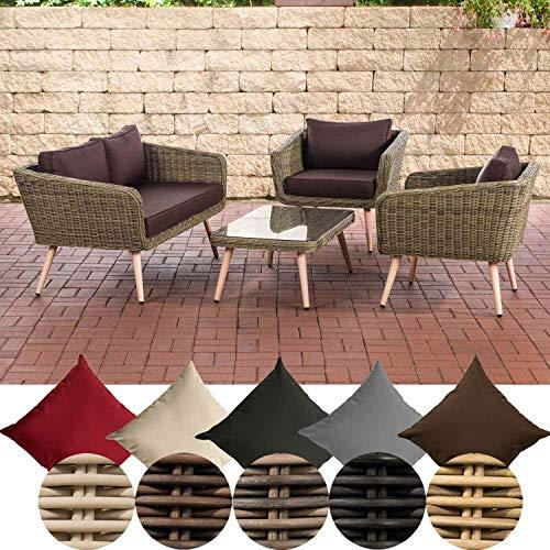 CLP Polyrattan Lounge Set SKARA I Natura I Garden Lounge Round Rattan Sofa & 2 x Armchairs & Glass Table I 5 mm Rattan Thickness