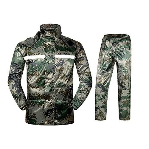 Keliour Waterproof Unisex Waterproof Jacket Adult Casual Wear Outdoor Walking Windproof Long Coat Hooded Raincoat (Color : Army green, Size : XL)