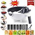 New 11 in 1 Multifunction Magic Rotate Vegetable Cutter with Drain Basket Large Capacity Vegetables Chopper Veggie Shredder Grater Portable Slicer Kitchen Tool with 8 Dicing Blades (white) by ChenLee