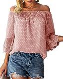 Bequemer Laden Blusa de verano para mujer, con hombros descubiertos, manga 3/4, diseño de lunares, color rosa, S