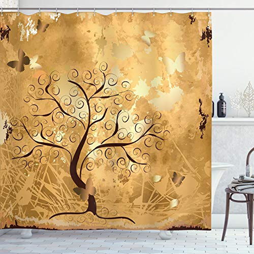Ambesonne Tree Shower Curtain, Grunge Style Composition with Swirled Branches and Butterfly Silhouettes, Cloth Fabric Bathroom Decor Set with Hooks, 70' Long, Pale Brown