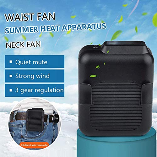 Tragbare Taille Clip Fan,23h Arbeitszeit Outdoor Handheld Kühllüfter,Hände-kostenlos Tragbar Fan,Persönlich Mini Halskette-Fan Schwarz 10x9x6.5cm(4x4x3inch)