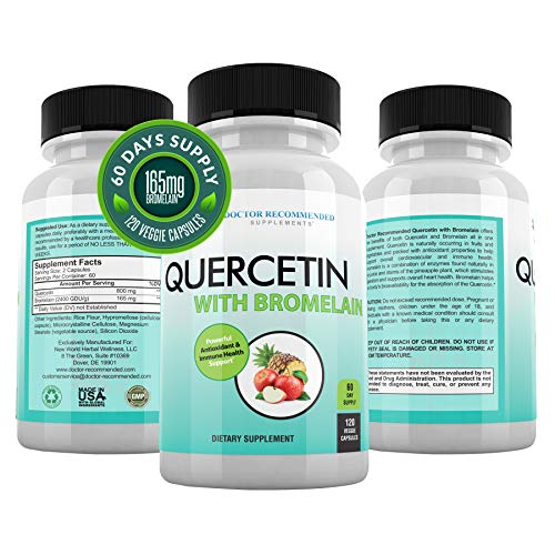 Quercetin 800mg w/Bromelain 165mg Per Serving- 120 Veggie Capsules-Full 60 Day Supply, Vitamin Supplement to Support Cardiovascular Health & Bioflavonoids for Cellular Function, Gluten Free, Non-GMO