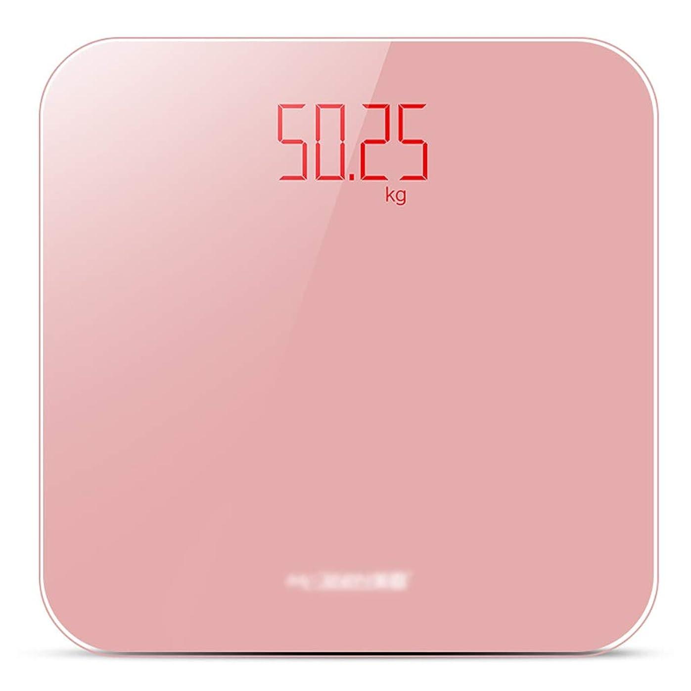 タイヤ後継ロープ体重計強化ガラス電子スケール付きLEDディスプレイ家庭用精密コンパクト成人用体重計充電式180kg(28x28x2.3cm)に耐えることができます (Color : Pink)