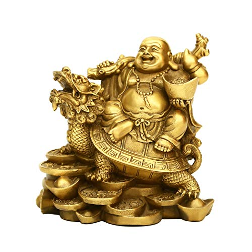"4.5""(H) Ruyi Laughing Buddha and Turtle-Wealth, Good Fortune, Health Buddha Statue for Home Office Decor PTZY062"