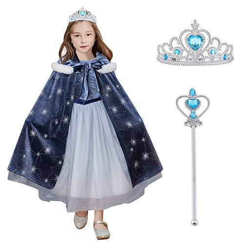 URAQT Disfraz de Elsa con Capa,  Vestido de Princesa Elsa Anna con Varita de Hada y Tiara de Corona,  Infantil Niñas Costume,  Cosplay de Disfraz de Halloween,  Cumpleaños,  Carnaval y la Fiesta
