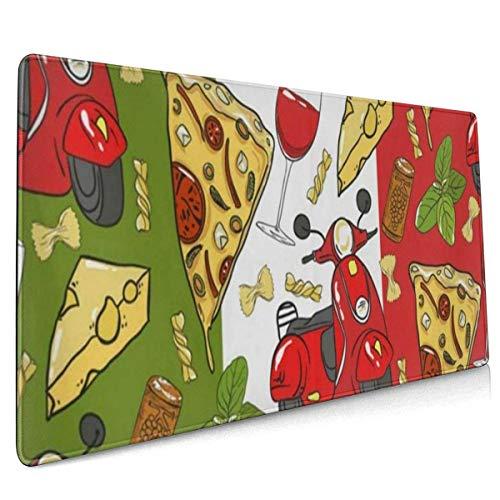Ahdyr Mauspad Italien Vine Pizza Käse Motorroller Basil Art Gaming Mauspad, Mauspad Tastatur 35,5 'x 15,7' Gamer Mauspad rutschfeste Gummibasis