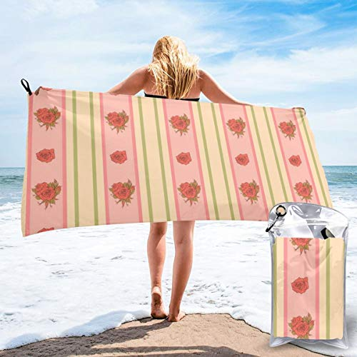 N/F Vintage Rose And Stripes Pattern For Wallpaper Bath Towels Large Bath Towel Set Super Absorbent And Fast Drying For Bathroom And Beach 2 Sizes Customized