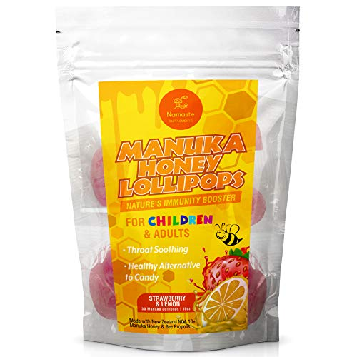 Manuka Honey Throat Soothing Immunity Lollipops for Children and Adult - Safe Alternative to Cough Drops and Lozenges - Strawberry & Lemon