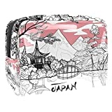 Bolsa de Maquillaje Paisaje de japón Neceser de Cosméticos y Organizador de Baño Neceser de Viaje Bolsa de Lavar para Hombre y Mujer 18.5x7.5x13cm