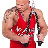 Trizeps-Seil 85cm mit breitem Teller schützt vor abrutschen auch bei hohem Gewicht inkl. Karabiner