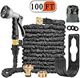 Alittle Expandable Garden Hose Pipe 100FT Expanding Water Hose 8 Function Spray Gun
