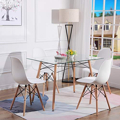 H.J WeDoo Essgruppe mit Esstisch und 4 Essstühlen, Rechteckig Glas Tisch mit 4 Weiß Skandinavisch Stühle für Esszimmer, Küche & Wohnzimmer