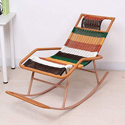 YZPDD Silla Plegable Mecedora de Mimbre Silla Mecedora reclinable sillón Ancianos Silla balcón Silla de Ocio de la Siesta (Color: Negro), Color: Oro (Color : Multi-Colored)