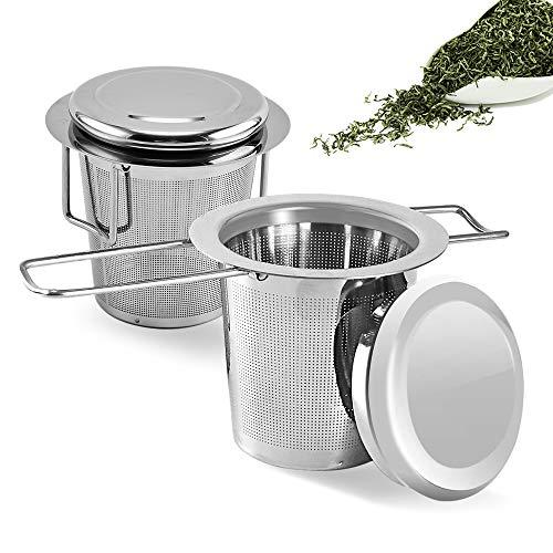 MELARQT Teesieb, 2 STK Teefilter aus Edelstahl mit Deckel, Abtropfschale, Premium Sieb für losen Tee, Faltbare Griffgestaltung Passend für die Meisten Tee-Tassen und Tee-Schalen