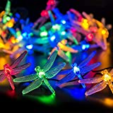Dragonfly Solar String Lights, Sundecor 21.3ft 30 LED 8 Modes Multi Color Waterproof Dragonfly Solar Fairy Lights Crystal Dragonfly LED for Indoor/Outdoor Patio, Lawn, Garden, Party, Wedding,Christmas