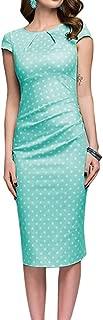 ZSBAYU Women's Short Sleeve Ruched Pleated Casual Sundress Elegant Dot Wave Point Knee-Length Midi Bodycon T Shirt Dress