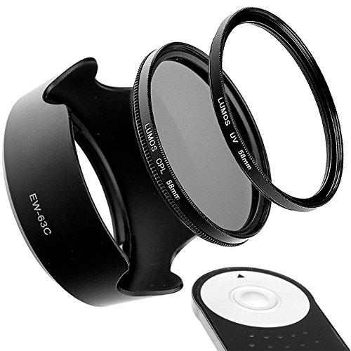 Set de accesorios compatible con Canon Kit EOS 100D 700D 750D 800D & Objetivo EF-S 18-55 mm IS STM | IR Disparador Remoto reemplazado Canon RC-6 parasol EW-63C Filtro UV & filtro polarizador cpl 58 mm