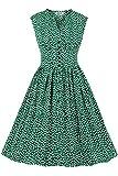 AXOE Femme Robe Vintage Année 50 Pin up avec Imprimé Floral