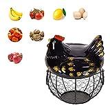 Wateralone - Soporte de cerámica para huevos de gallina, cesta de huevos de gallina, cesta para...