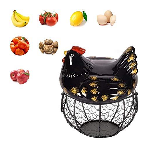 Wateralone - Soporte de cerámica para huevos de gallina, cesta de huevos de gallina, cesta para fruta, decoración de peldaños de cerámica