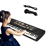 Shayson 61 Key Kids Piano Keyboard,Multi-function LED Display Electronic Rechargable Piano Keyboard with Microphone for Children