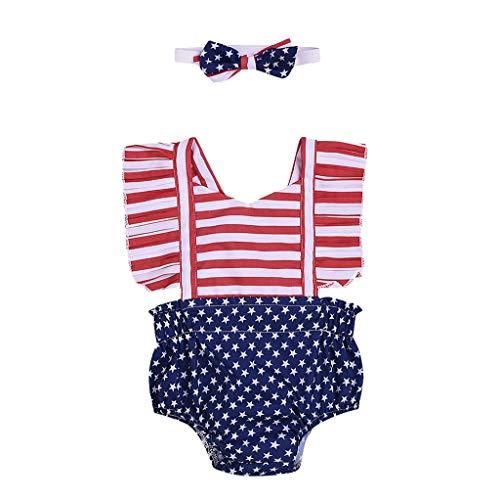 Janly Clearance Sale Mameluco para niñas de 0 a 24 meses, con diseño de estrellas de 4 de julio a rayas patrióticas sin espalda, para bebés de 6 a 12 meses, regalo de Pascua de San Patricio (rojo)