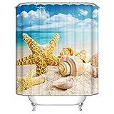 MaxAst Badvorhang Bunt Duschvorhang Seestern Muscheln am Strand Duschvorhang Peva Duschvorhang Polyester Duschvorhang 180x200 cm