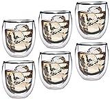 Feelino Aktion: 6X 320ml doppelwandiges Thermoglas mit Schwebe-Effekt, Teeglas/Kaffeeglas für...