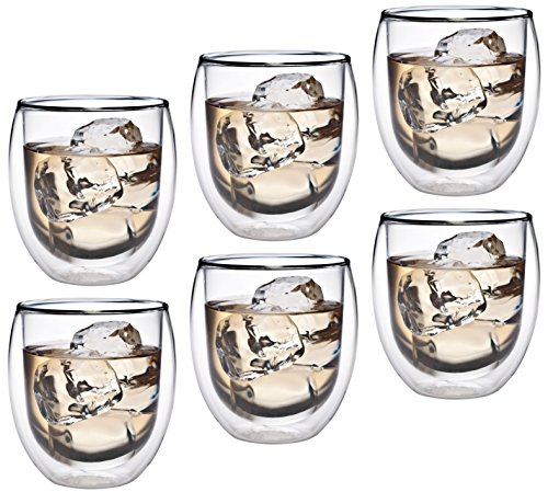 AKTION: 6x 320ml doppelwandiges Thermoglas mit Schwebe-Effekt, Teeglas / Kaffeeglas für Cappuchino, Milchkaffee, Tee, Eistee, Schorle, Desserts oder als Eisbecher geeignet, 36R by Feelino …