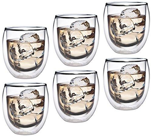Feelino Aktion: 6X 320ml doppelwandiges Thermoglas mit Schwebe-Effekt, Teeglas/Kaffeeglas für Cappuchino, Milchkaffee, Tee, Eistee, Schorle, Desserts oder als Eisbecher geeignet, 36R by