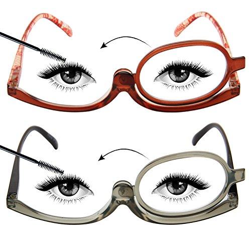 LianSan Occhiali da lettura per trucco da donna, occhiali da trucco portatili rotanti e pieghevoli, 2 paia di occhiali eleganti L3660 (Marrone & Grigio, 2.00)