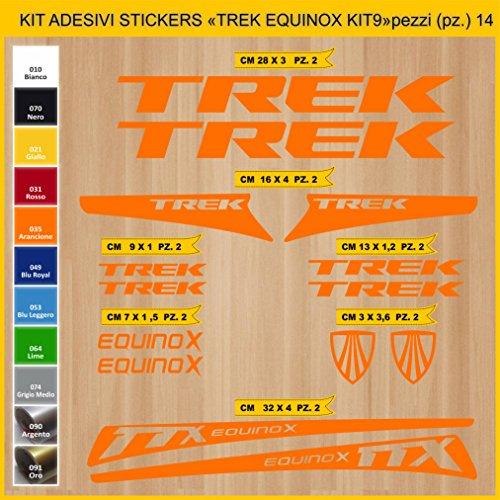 Adesivi Bici Trek Equinox_Kit 9_ Kit Adesivi Stickers 14 Pezzi -Scegli SUBITO Colore- Bike Cycle pegatina cod.0904 (035 Arancione)