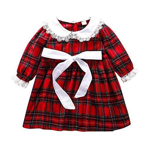 YWLINK NiñOs Vestidos A Cuadros para NiñAs BebéS Camisas A Cuadros Rojos De Manga Larga Tops Faldas De Tutú Ropa De OtoñO Vestido De Princesa Lindo Elegante para Navidad AñO Nuevo Fiesta