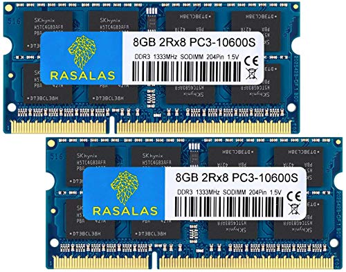 Rasalas 16GB DDR3 1333MHz PC3-10600 2x8GB SODIMM Arbeitsspeicher CL9 204-Pin Non-ECC Unbuffered Notebook Laptop Speicher Kit
