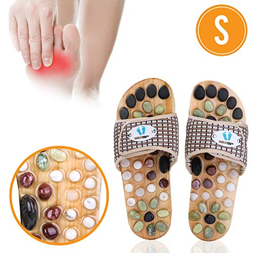 Acupressure Massage Slippers with Earth Stone, Therapeutic Reflexology Sandals for Foot Acupoint Massage Shiatsu Arch Pain Relief, Fit Women 6-7 Feet Size