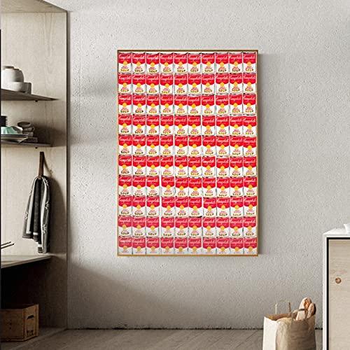 Andy Warhol Arte pop abstracto Alimentos enlatados Puede etiquetar Sopa de tomate Lienzo Pintura Arte de la pared Imagen decorativa Sala de estar Estudio Oficina Decoración para el hogar Mural