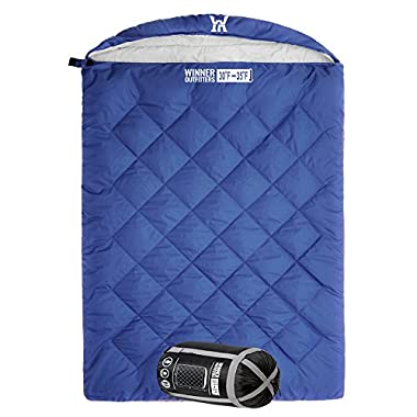 WINNER OUTFITTERS Double Sleeping Bag with 2 Compression Sack, It's Portable and Lightweight for 3-4 Season Camping, Hiking, Traveling, Backpacking and Outdoor Activities(Navy Blue)