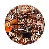 Reloj Antiguo-Molinillo-café-Granos Relojes de Pared a Pilas Reloj Decorativo Redondo Reloj de Pared fácil de Leer para Sala de Estar Oficina en casa Escuela 10 Pulgadas