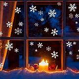 GIGALUMI 108 Pcs Stickers Noël Fenetre Flocon de Neige, Decoration Noël fenetre, Décoration Noël blanche avec 3 tailles 5.5/8/11cm