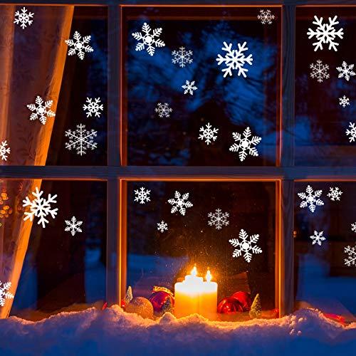 GIGALUMI 108 Schneeflocken Fensterbild Winter Fensterdeko Weihnachtsdeko Selbstklebend Wiederverwendbare Fensterbilder PVC Aufkleber