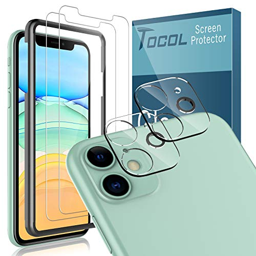 TOCOL 2 Pack Tempered Glass Screen Protector and 2 Pack Tempered Glass Camera Lens Protector Compatible with iPhone 11 6.1 inch HD Clear Bubble Free Case Friendly 9H Hardness